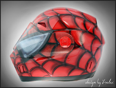 Spiderman design airbrushed helmet 2