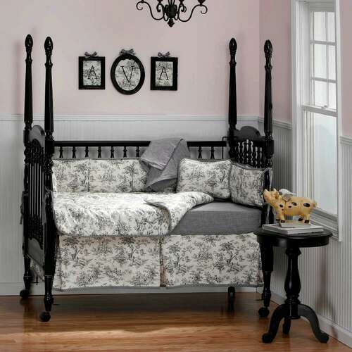 Black and White Toile Crib Bedding