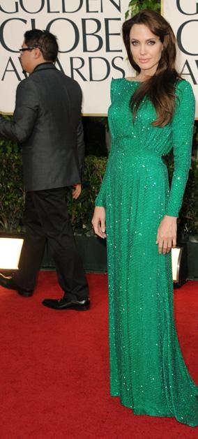 Angelina Golden Globes Green Dress. The beautiful actress Angelina