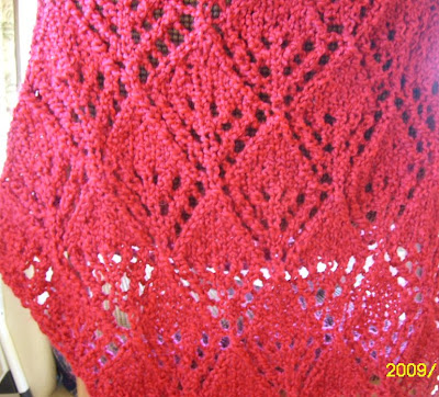 Homespun Yarn Crochet Patterns : Knit and Crochet Pattern Chat: Homespun Yarn Red Lace Shawl