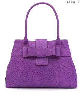 Purple Ostrich Embossed Tote