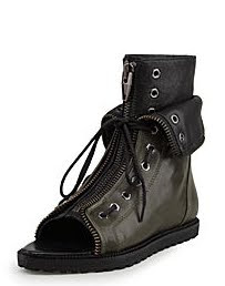 Laced Zip Flat Boot