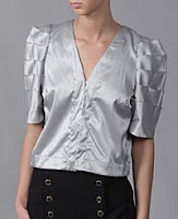 Pleated Sleeve Satin Blouse