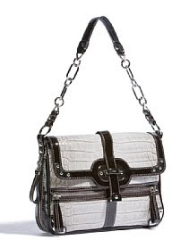 Grey Reptile Embossed Shoulder Bag
