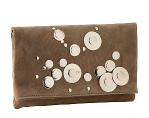 Suede Foldover Clutch with Studs