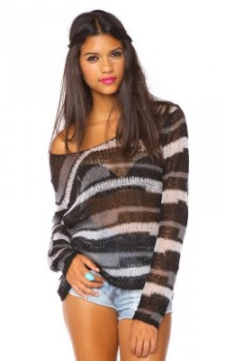 Sheer Colorblock Stripe Sweater