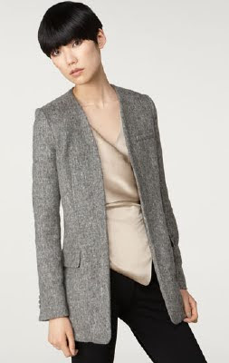 Collarless Felt Blazer