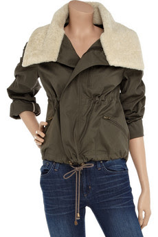 Shearling-trimmed Cotton Jacket