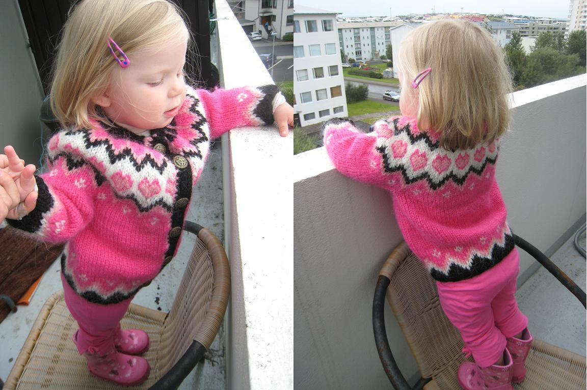 Knitting Pattern Cardigan 3 Year Old : Knit Icelandic: Pink knitted Icelandic Sweater (Pullover) for a 2-3 years old