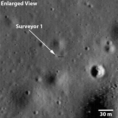 The Surveyor 1 spacecraft sitting silently on Oceanus Procellarum