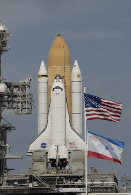 Shuttle Atlantis secured at Launch Pad 39A