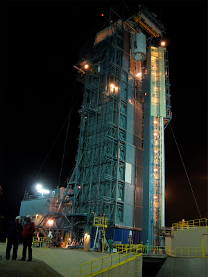 Wise is seen here being hoisted to the top of its United Launch Alliance Detla II rocket at Vandenberg Air Force Base, Calif