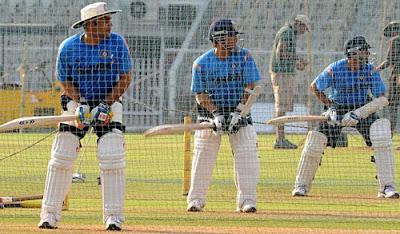 Virender Sehwag, Sachin Tendulkar and Rahul Dravid