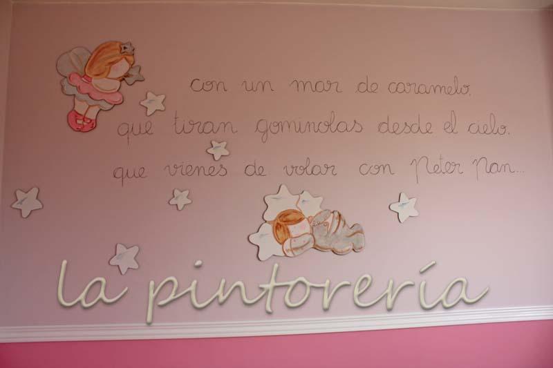 Deco chambre b b peinture murale avec sticker muraux pour chambre enfant et fille la f e et for Peinture murale chambre enfant