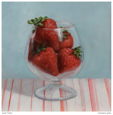still life oil painting of strawberries in glass by Sarah Trefny