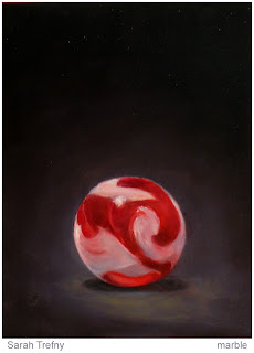 oil painting of red marble by Sarah Trefny