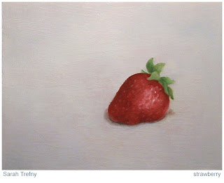 still life painting of strawberry by Sarah Trefny