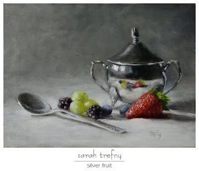 oil painting of silver sugar bowl and fruit by Sarah Trefny