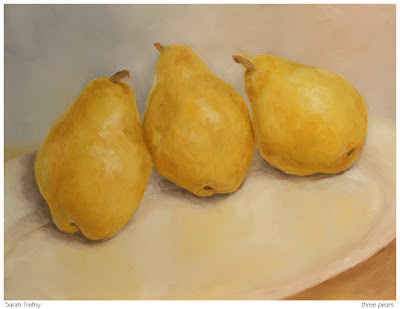 still life oil painting of three yellow pears by Sarah Trefny