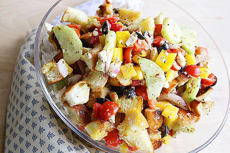 Greek Panzanella greek panzanella salad