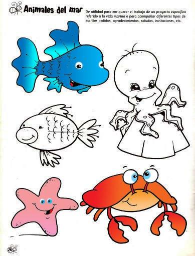 desenhos animais marítimos para colorir desenhos e riscos