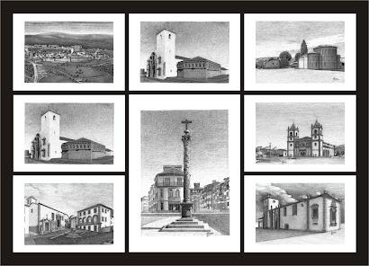 8 Ilustrações  a tinta-da-china de Bragança