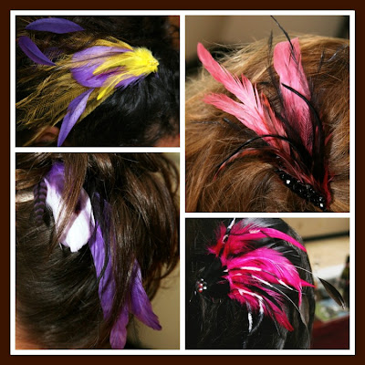 feather hair accessories and headpieces