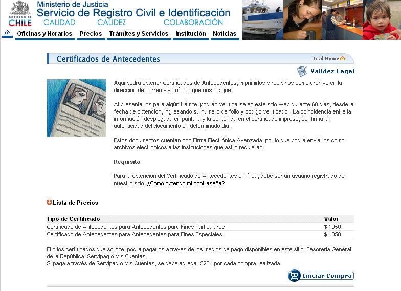 Registro civil de chile lanza certificado de antecedentes for Oficinas registro civil