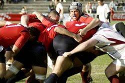 Jugadors de la Selecció Espanyola de Rugby en l'últim enfrontament contra Georgia