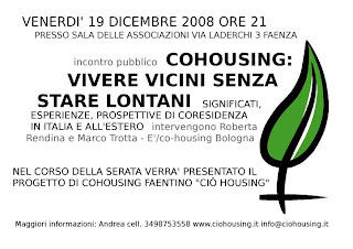 locandina19dicembre CIHOUSING: il cohousing in salsa romagnola
