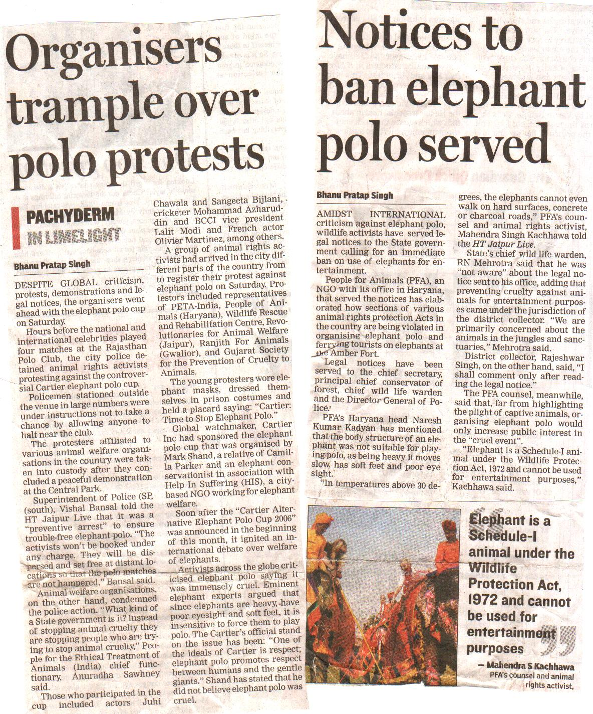 Naresh Kadyan PIL on captive Elephants :Ankush ban in India