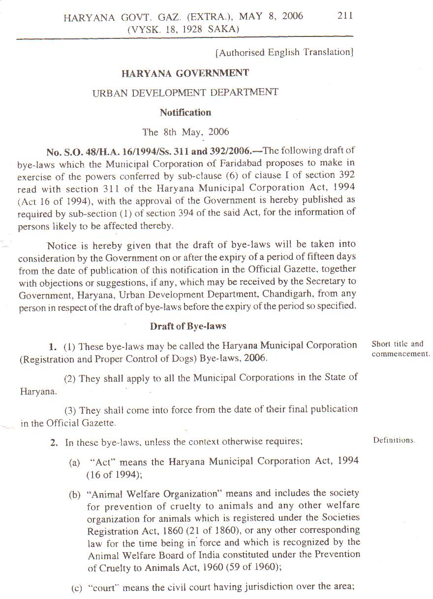 Haryana Municipal Corporation Bye-laws 2006