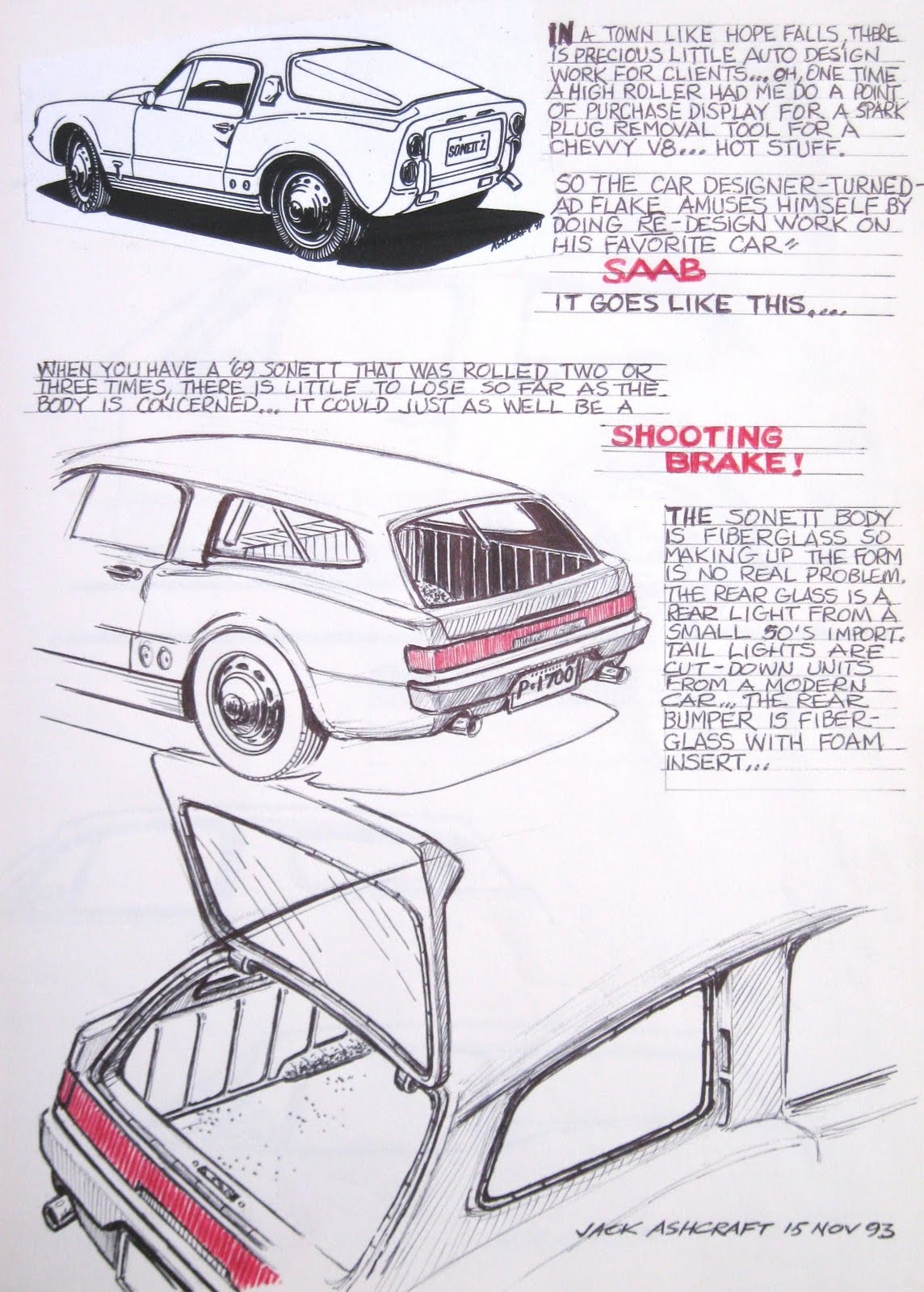 Design of car jack - Another Idea For Your Damaged Sonett Ii Would Be To Create A Station Wagon Or Shooting Brake Such As This Design Jack Sketched Up