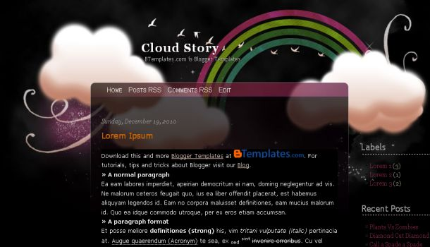Free Rainbow Clouds Black Blogger Template