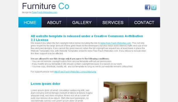 Furniture Business Design Blue Website Template