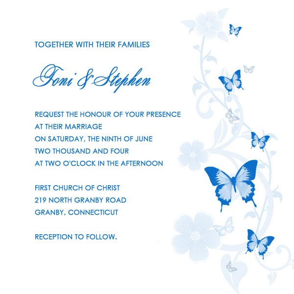 Printable Wedding Invitations Butterfly Printable Wedding Invitation