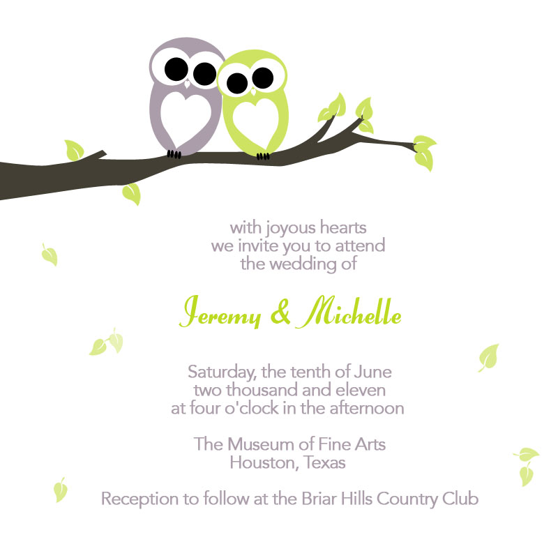 Free Printable Wedding Invitation Love Birds Size 6 x 6
