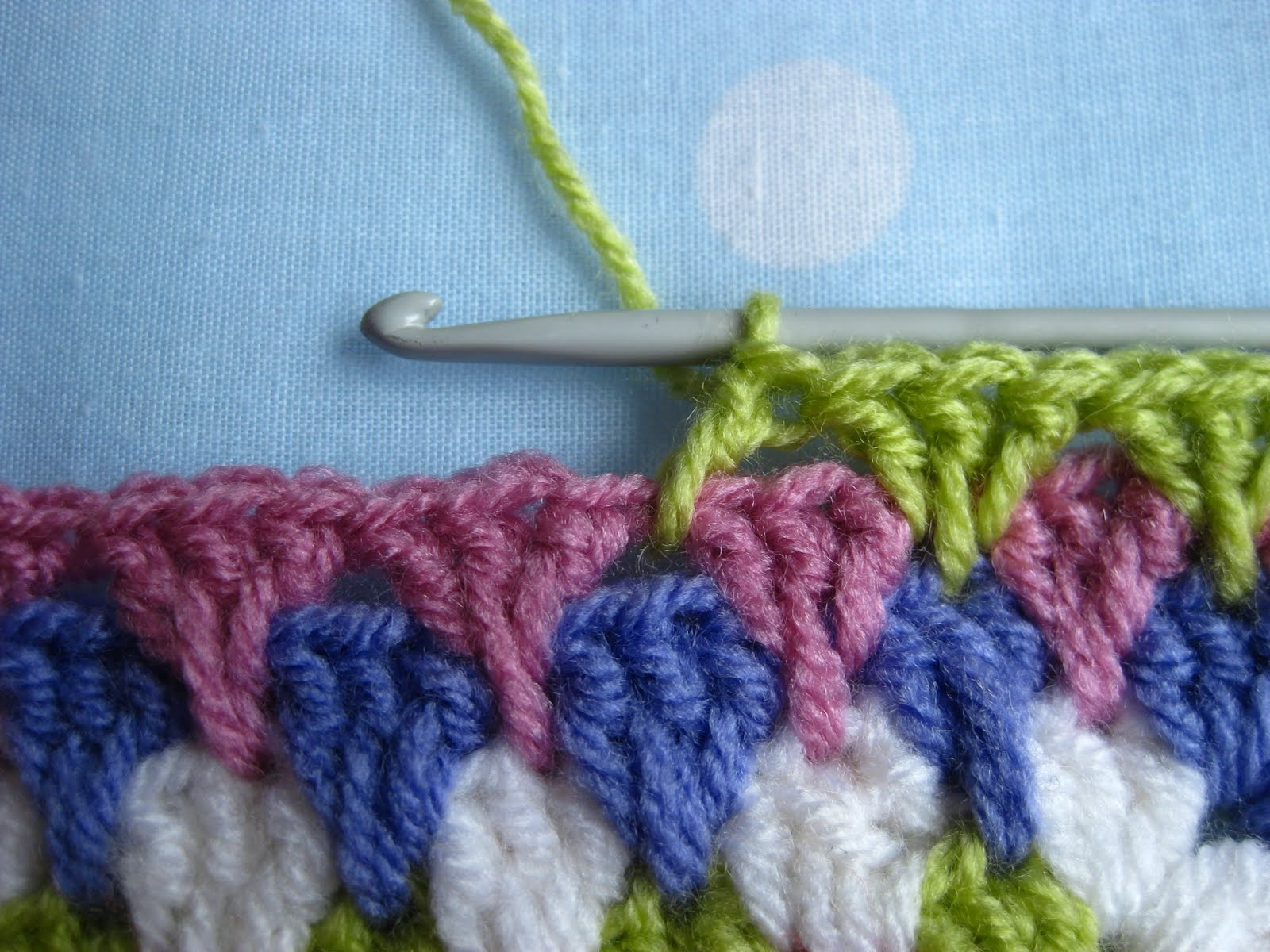 Crocheting Granny Stitch : ... crochet ( U.K.treble) as usual , into the space of the previous round