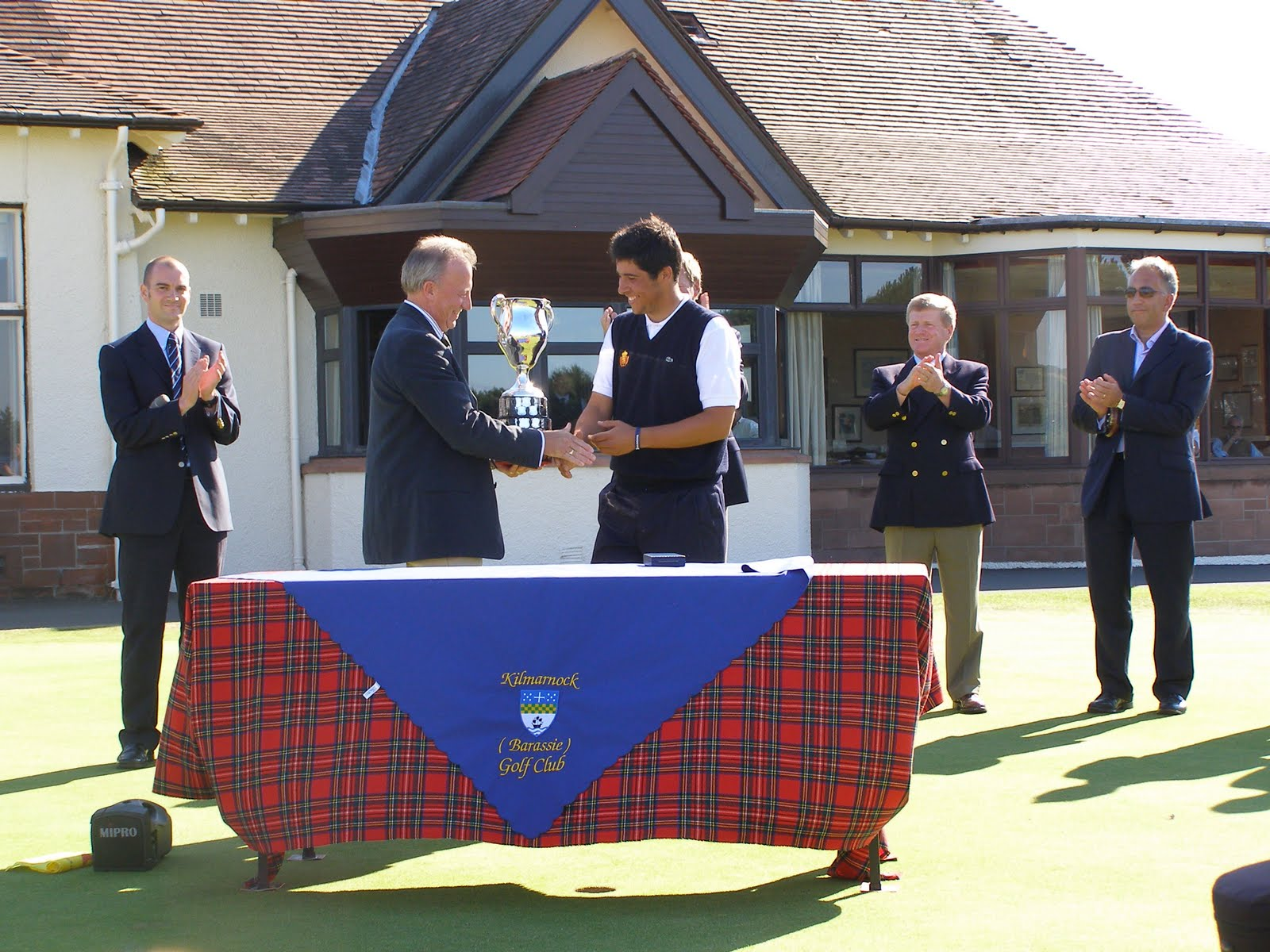 David Miller, Captain of Kilmarnock Barassie Golf Club, presents Adrian ...