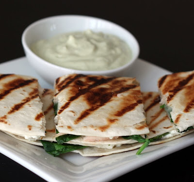 ... Chicken, Spinach, Goat Cheese Quesadillas with an Avocado Sour Cream