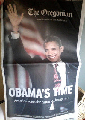 Oregonian Obama Wins front page