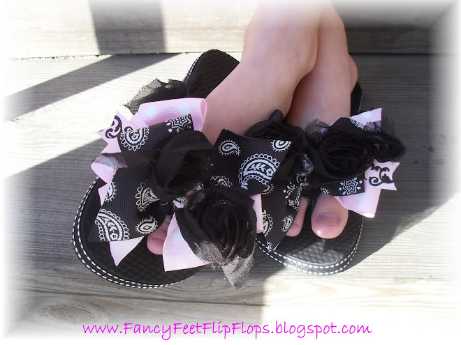 Matching Black Rosette and Rhinestone Flip Flops