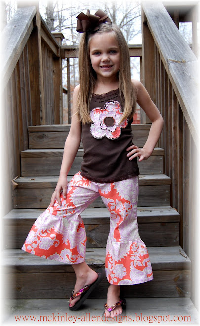 Funky Frayed Flower/Ruffle Pant Set $60
