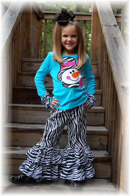 2009 Pink, Blue, Zebra Snowman Double Ruffle Pant Set $100