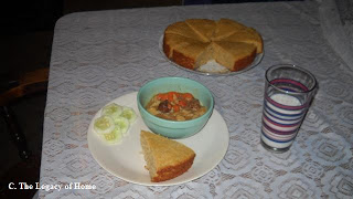 027z Sharons Late Night Beef Stew and Corn Bread Cake