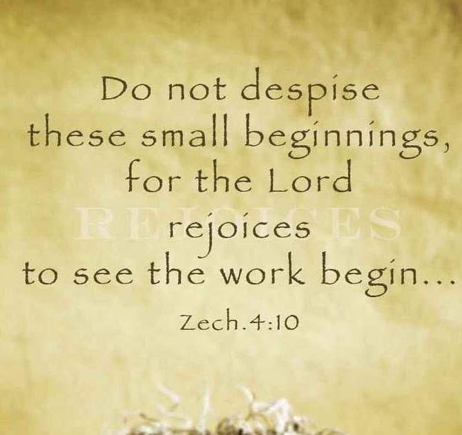 Do Not Despise these Small Beginnings... Rachel Struck