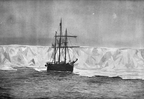 The ship Terra Nova arriving at the Bay of Whales in 1910, to find the Norwegian expedition. (Caption from `The South Pole Ponies' by Theodore K Mason, 1979, page 133). Photographed from `Fram', the ship of Amundsen, by an unidentified photographer.