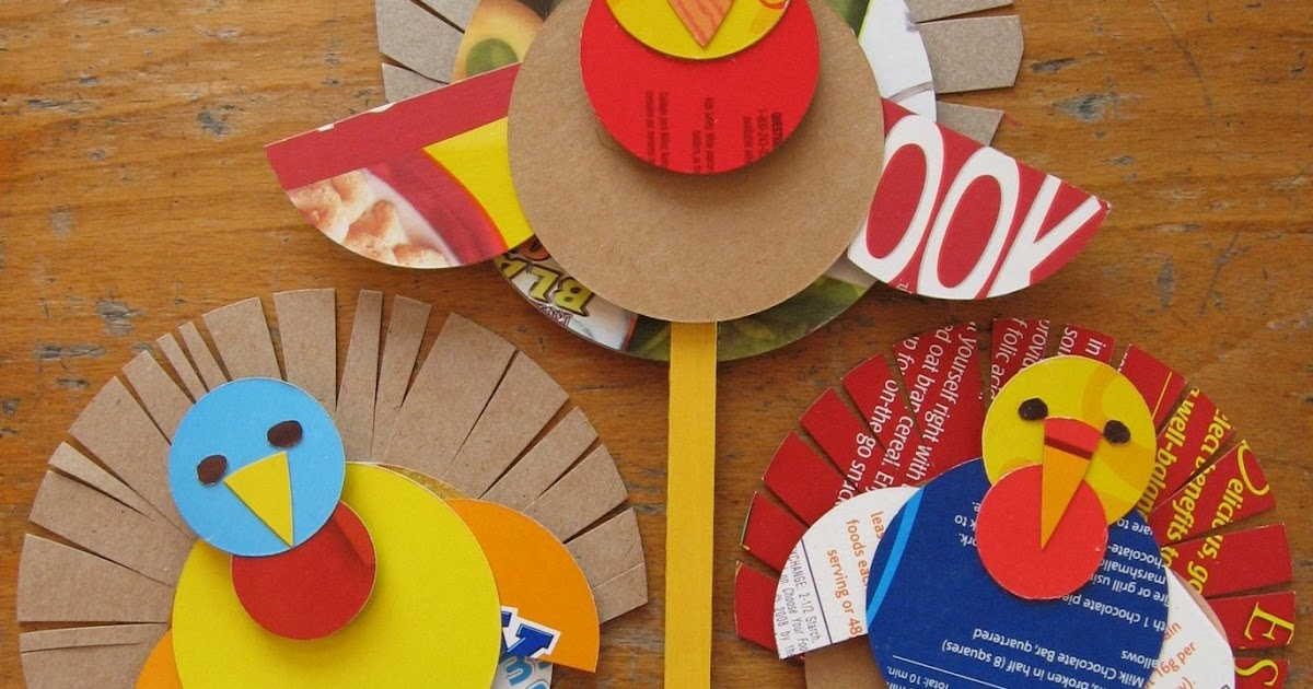 Preschool crafts for kids thanksgiving cereal box turkey for Thanksgiving crafts for infants