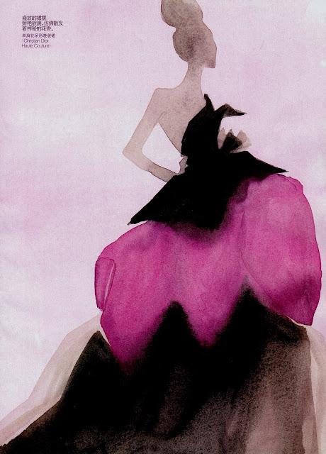 Mats Gustafson, fashion illustration, Elle, Couture fashion, Illustration, Watercolor, art, fashion art, fashion, french, paris