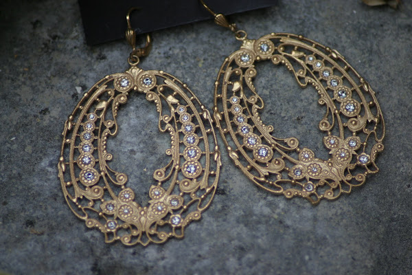 Beautiful French Filigree Earring with crystals